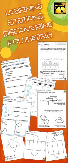 Math centers: introduction to polyhedra - nets, prisms vs. pyramids, vertices, edges, and faces