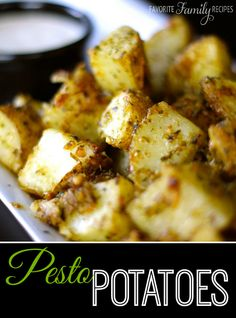 These Pesto Potatoes are super easy and a great side dish for your next BBQ.  Sometimes we make these in foil over the grill, they are so good!