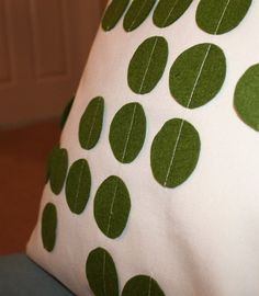 Pillow cover with felt leaves