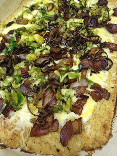 Parmesan Cauliflower Pizza Crust with crispy, salty, unusual toppings.