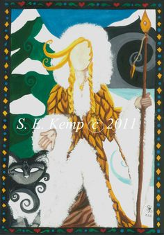 """Freyja    In Norse mythology, Freyja is a goddess associated with love, beauty, fertility, gold, magic, war, and death.   She wore an amber necklace called a 'brisling"""".  a cloak made of magical falcon feathers which allowed her to fly across the heavens and drove a flying chariot as well that was pulled by two cats."""