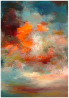 acrylic paintings, orang, painting art, sunset, background, cloud, color combinations, the artist, rikka ayasaki