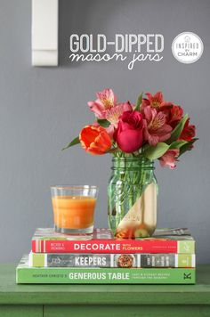 Simple and beautiful!!  Gold-Dipped Mason Jars | Inspired by Charm