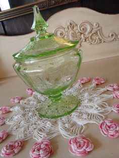 Green Princess Depression glass footed candy dish w/ lid | Flickr #vintage #antique #old #glass #glassware #depressionglass #green #princess #candydish