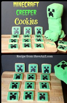 Minecraft Creeper Cookies!  The kids went CRAZY for these!!!  Just made a creeper cake for lil ones birthday
