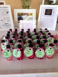 Nail polish favors at a Pink, mint, gray, chevron Baby Shower!  #partyfavor