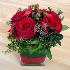Christmas red rose arrangement