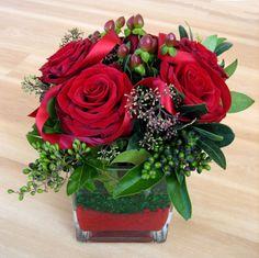 Christmas red rose arrangement