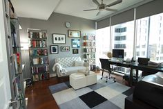 Elton Tufted Settee from west elm in an Atlanta Home Office