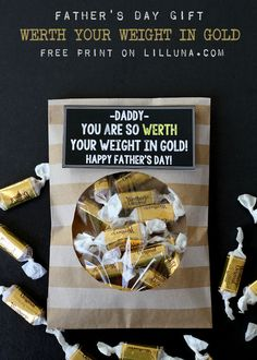 "Super cute and simple Father's Day Gift - ""WERTH"" your weight in gold { lilluna.com } #fathersday"