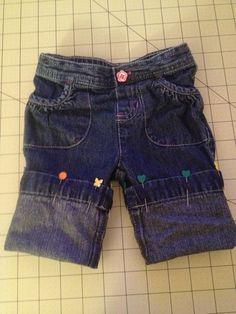 Toddler pants turned into shorts. Keep the original hem.
