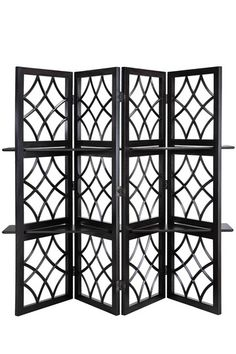 """Soho Room Divider/ Display Screen - 4 panel screen or room divider, 2 shelves can be inserted through panel openings for displaying your treasures, 84"""" W x 4"""" L x 73"""" D"""