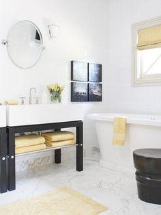 classic, contemporary black and white bath
