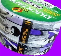 Justin Bieber Duck® brand Duct Tape OMG the possibilities of party favors i could make with this stuff are endless!!