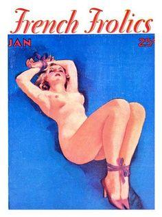 AP557 - French Frolics, Pin-up Girl (30x40cm Art Print)