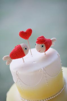 Coral Wedding Cake Topper Nautical Crochet Fish Made by cherrytime, $40.00