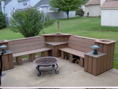 idea, back patio, deck bench, fall projects, deck furniture, brick, outdoor benches, diy home, planter boxes