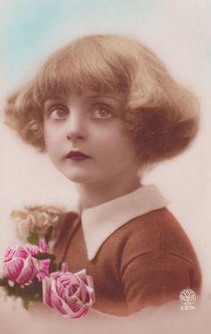 vintage postcard, 1920s, little girl with bobbed hair