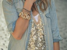 Sequins and chambray
