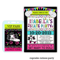 Neon Skates Ticket VIP package  PaRtY PaCk by CupcakeCutieesParty, $16.00