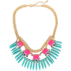 Aqua Tribal Spikes Necklace - Jeweliq