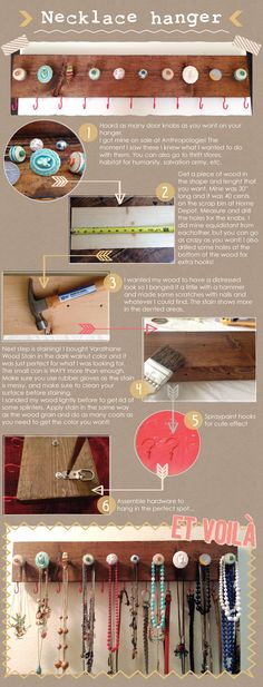 DIY knob coat rack / necklace organizer I am totally doing this!! May paint the board and distress the finish...