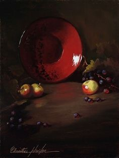 Reds & Green by Christine Hooker Oil ~ 12 x 9