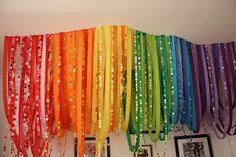 #Rainbow party decoration ideas paper decor, diy rainbow, engagement parties, paper streamer, rainbow streamer, rainbow backdrop, crepe paper