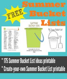 Download a free printable with 175 Summer Bucket List Ideas.
