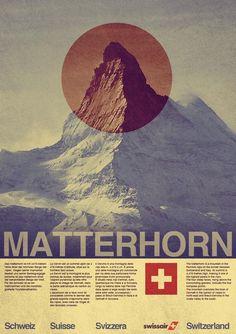 a vintage tourism ad for the famous Matterhorn, above Zermatt/Switzerland