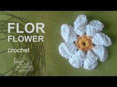 Folded flower crochet motif with 8 folded petals  Tutorial Flor Crochet
