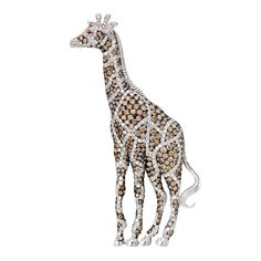 Estate Betteridge Collection Multicolored Diamond Giraffe Brooch