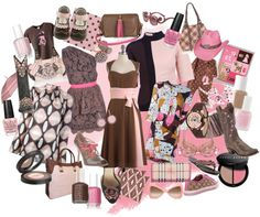 """Pink and Brown"" by cheermom511 on Polyvore"