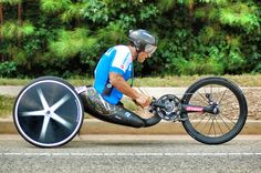 Another shot of World Champion handcyclist Alex Zanardi in his incredible custom machine.