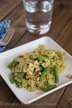 Pesto and Walnut Pasta with Green Beans   Dinners, Dishes, and Desserts