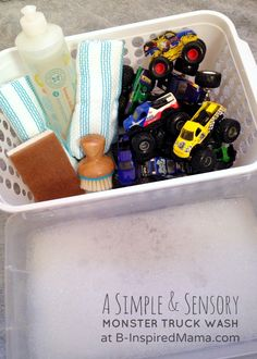 Wash your monster trucks ( sensory play )