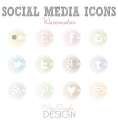 Social Media Icons Watercolor by VerySimpleDesign on Etsy, $4.00
