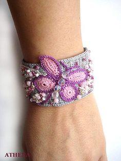 Crochet bracelet - Butterfly temptation by Athena005