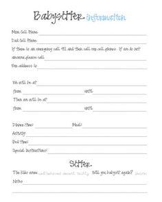 Babysitter Information - Printable!