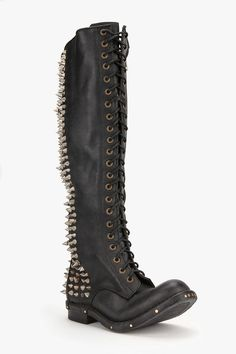 Jeffrey Campbell Bladz Lace-Up Spike-Stud Boot    please.... #shoes #heels #boots