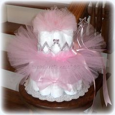 Pink Princess Tutu Diaper Cake Baby Shower Centerpiece Tulle Tutu Crown Dress-Up First Birthday Gift Photo Prop Table Decorations Pink Disney