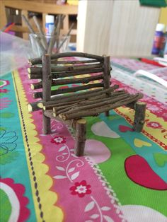 Fairy bench made of twigs.