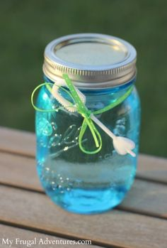 Homemade Bubble Solution --- A perfect children's party gift!  Just 3 ingredients and you will have big, thick, amazing bubbles!