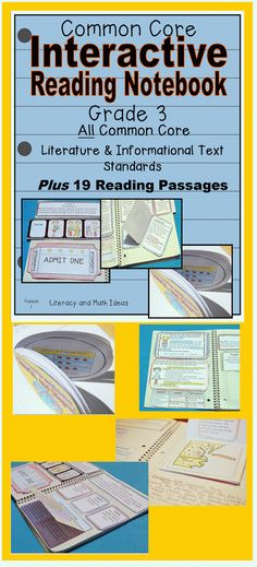(19 Short Common Core Reading Passages, Vocabulary Words, and Interactive Notebook Inserts are all Included) Grade 3 Common Core Interactive Reading Journal Literature and Informational Text Standards-- Students learn and review Common Core in a fun way.$