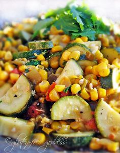 Fresh corn makes this side dish AHmazing. And it's a tasty way to use up extra zucchini. Karina's Calabacitas. #newmexico #calabasitas #corn #zucchini #glutenfree #vegan