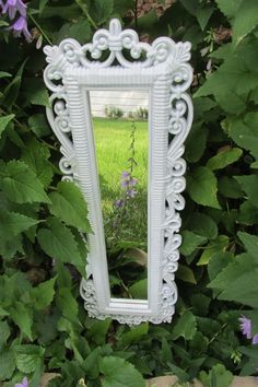 Wall Mirror White in Lacy Look Frame by LuRuUniques on Etsy, $25.00