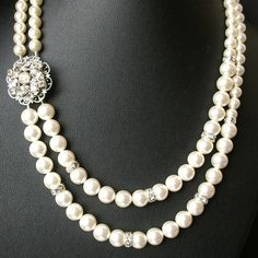 Pearl Necklace, Vintage Bridal Rhinestone Jewelry, Double Strands, CELINE Collection