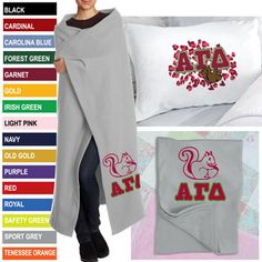 Alpha Gamma Delta Sorority Packages $34.95 #BlanketPillowcase #Package #Greek #Sorority #Accessories #Gifts #AlphaGammaDelta #AGD #Mascot #Squirrel