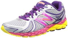 New Balance Women's W870v3 Running Shoe,Silver/Yellow/Pink,8.5 D US