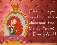 Do you love Merida from Disney's Brave?   Then click this link for a list of places you'll find Merida at the Walt Disney World Resort in Florida or go to http://www.buildabettermousetrip.com/princess-merida-at-disney-world  #Disneyworld #Brave #Merida #DisneyPrincess #WDW
